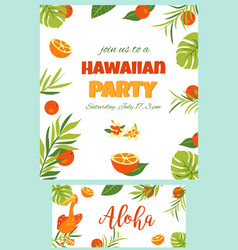 Tropical hawaiian poster with pelican vector