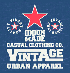 vintage denim and t shirt stamp vector image vector image