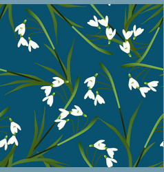 white snowdrop flower on indigo blue background vector image vector image