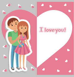 young couple lettering i love you vector image vector image