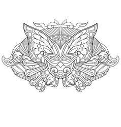 Zentangle stylized cartoon carnaval mask vector