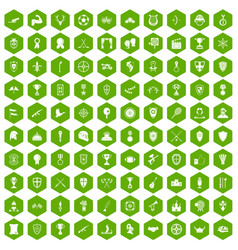 100 trophy and awards icons hexagon green vector