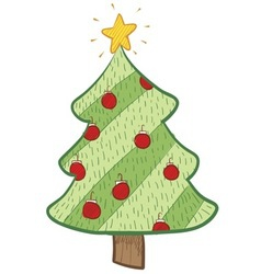 doodle christmas tree stylish vector image