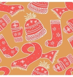 Seamless warm winter pattern background vector
