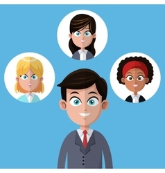 Cartoon businessman manager office with women team vector
