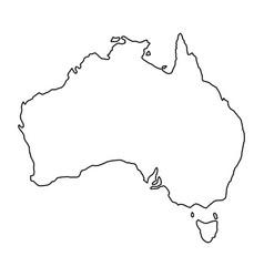 australia map of black contour curves of vector image
