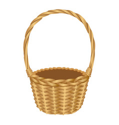 Single handle wicker basket isolated vector