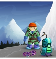 Mountain climber cartoon character background vector