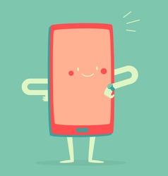 Happy smartphone checking the time vector