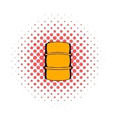 Metal barrel comics icon vector