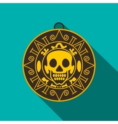 Aztec pirate gold coin icon flat style vector