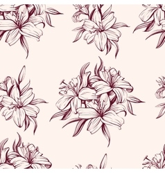 Floral blooming lilies background hand drawn vector