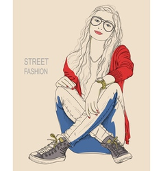 A young woman in glasses sitting on the ground vector
