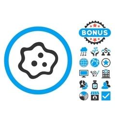 Amoeba flat icon with bonus vector