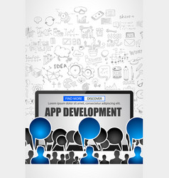 App development concept with business doodle vector
