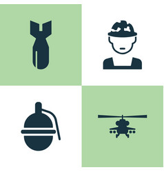 Army icons set collection of rocket military vector