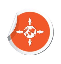 Arrows and globe orange label vector