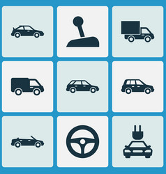 Auto icons set collection of plug crossover vector