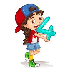 Canadian girl holding letter four vector