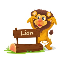 Cartoon zoo lion sign vector image vector image