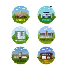 City buildings icon set in flat style vector image vector image