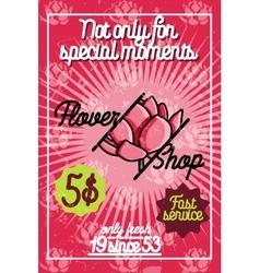 Color vintage flower shop poster vector image vector image