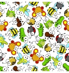Colorful cartoon funny insects seamless pattern vector image vector image