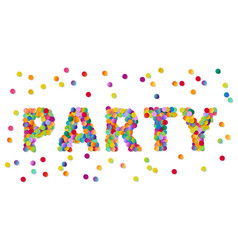 Colorful round confetti carnival party sign vector