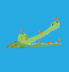 Crocodile and bird little birds clean alligator vector