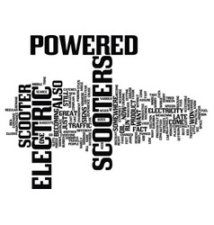 Electric powered scooter text background word vector