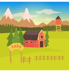 Farm and surrounding landscape colorful sticker vector