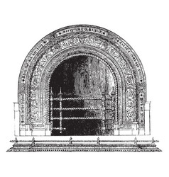 Fireplace warmth vintage engraving vector