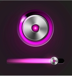 Glossy media player button and track bar vector image vector image