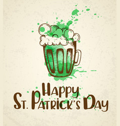 Green beer and watercolor blots vector