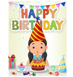Happy girl blowing birthday candles vector