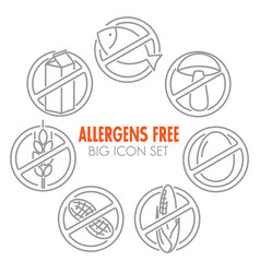 Icons for allergens free products vector