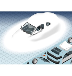 Isometric Snow Capped White Car in Front View vector image vector image