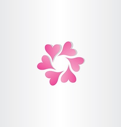 Magenta hearts in circle icon design symbol love vector