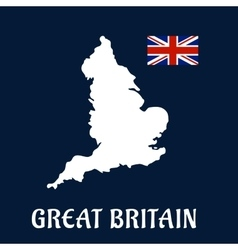 Map of Great Britain with national flag vector image