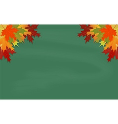 Maple leaves on green chalkboard vector image vector image