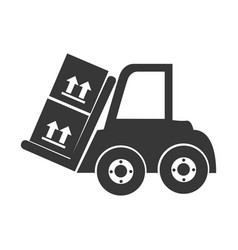 Monochrome silhouette with forklift truck with vector