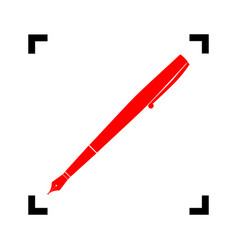 pen sign red icon inside vector image
