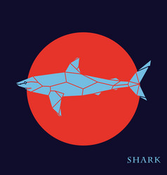 polygon blue shark on red background vector image vector image