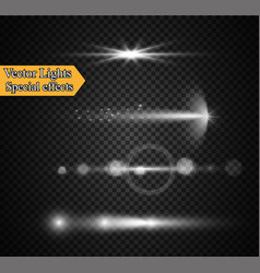 Realistic lens flare elements collection light vector