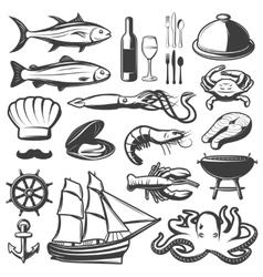 Seafood Icon Set vector image