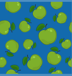 Seamless pattern apple on blue background vector
