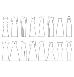 set of contours of evening dresses vector image
