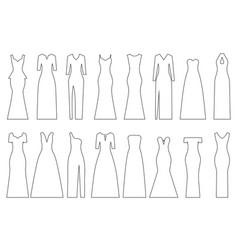 Set of contours of evening dresses vector