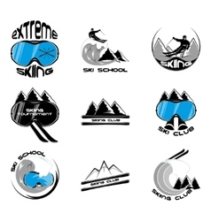 Set ski logo design template elements vector