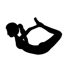 Silhouette yoga woman bow pose vector
